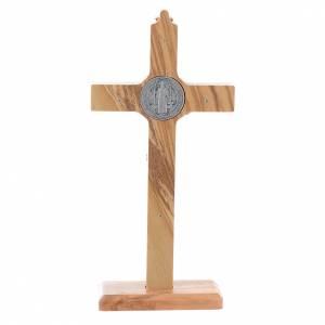 Crucifix St. Benoît bois d'olivier pour table ou mur s4