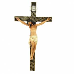 Hand painted wooden statues: Crucifix statue in coloured wood paste 20cm