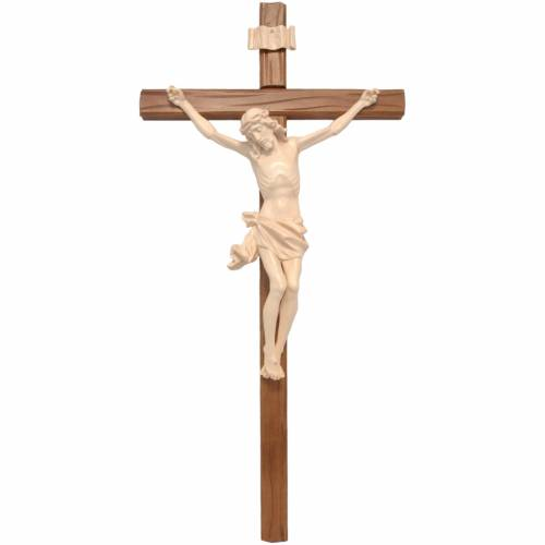 Crucifix, straight, Corpus model in natural wax Valgardena wood s1
