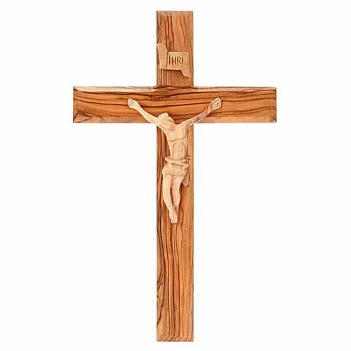 Crucifix terre sainte, bois d'olivier naturel s1