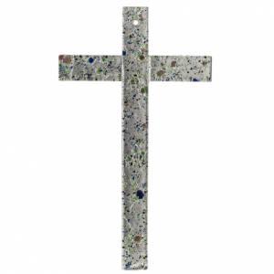 Crucifix en plexiglass et verre: Crucifix verre Murano et feuille argent multicolore