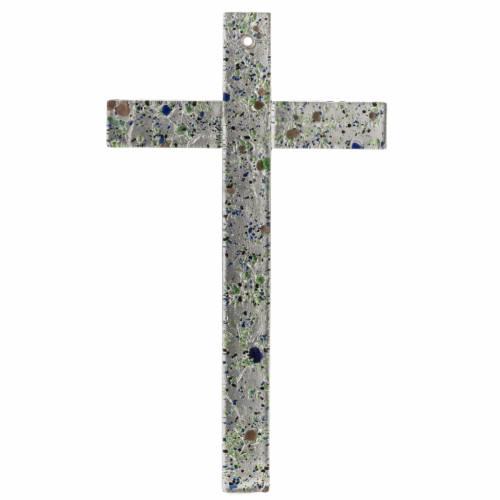 Crucifix verre Murano et feuille argent multicolore s1