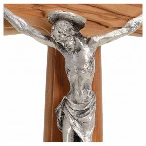 Crucifix with Christ's body in silver metal on olive wood cross 30cm s3