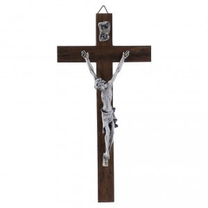 Wooden crucifixes: Crucifix with silver body on walnut cross modern 16 cm