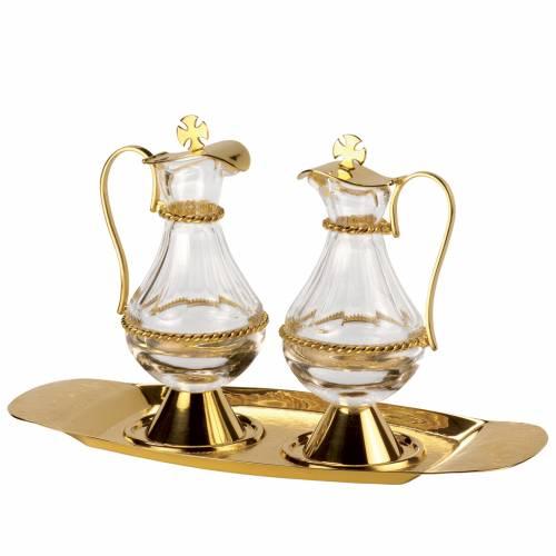 Cruet set in polished golden brass, Molina s1