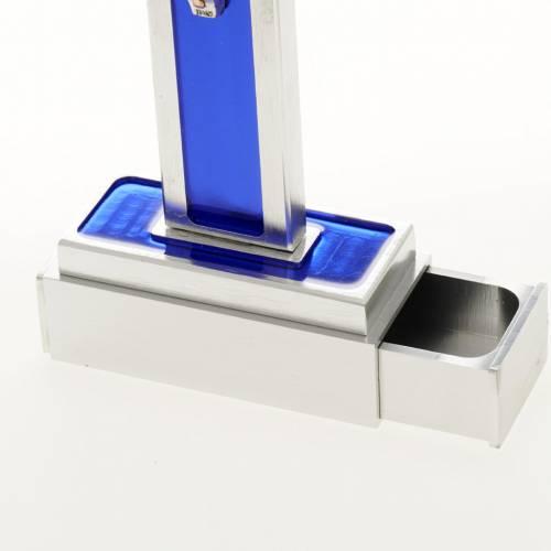 Cruz de mesa de latón con esmalto azul de Jesús s6