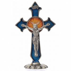 Cruz espíritu santo puntas de mesa 7x4,5 cm. zamak esmalte azul s1
