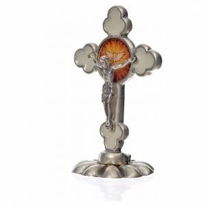 Crucifijos de mesa: Cruz espíritu santo trilobulada de mesa esmalte blanco 5.2x3.5cm