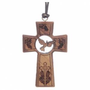 Colgantes Cruz Madera: Cruz madera de olivo 5 cm símbolos Primera Comunión y Confirmación