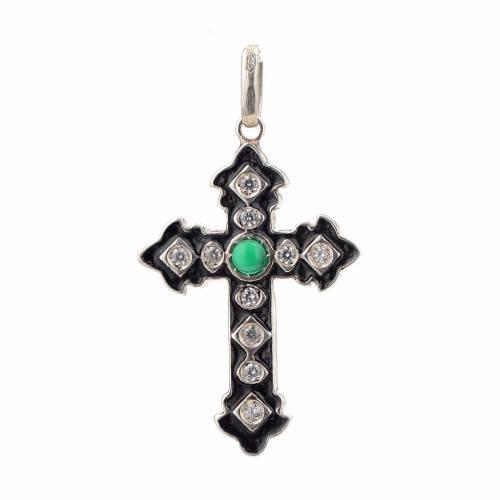 Cruz plata 925 con strass y piedra verde s1