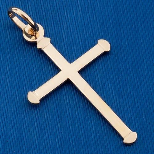 Cruz redonda colgante de oro 750/00 gr. 0,70 s3