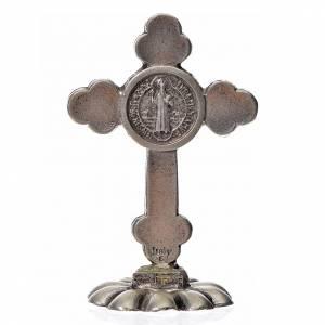 Cruces y medallas de San Benito: Cruz San Benito trilobulada de mesa zamak 5x3.5 cm. esmalte negr