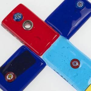 Cruz vidrio de Murano multicolor y murrina s2