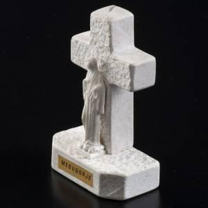 Cruz Virgen de Medjugorje mármol blanco s3