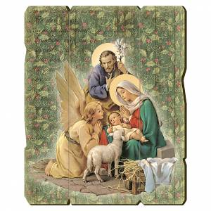 Cuadros, estampas y manuscritos iluminados: Cuadro de madera bordes irregulares Pesebre con Ángel 25x20 cm
