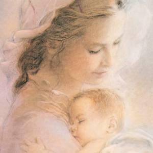 Cuadro madera imagen Virgen con Niño fondo nubes s2