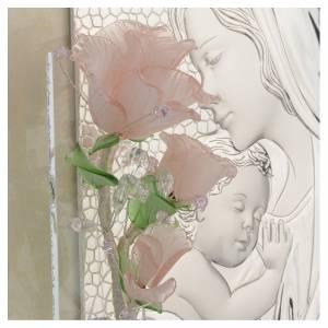 Cuadro Maternidad tres rosas vidrio Murano rosa 16x24 cm s3