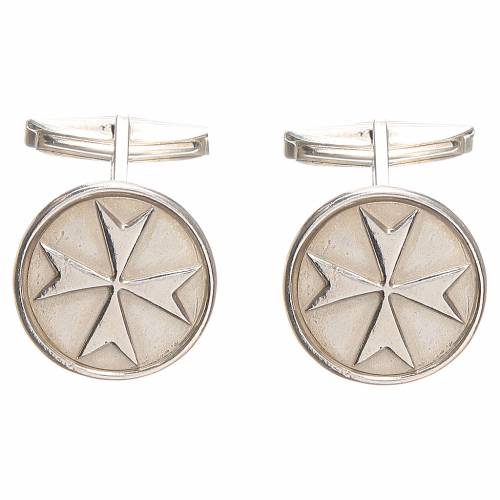 Cufflinks rhodium-plated Silver 800, Maltese Cross 1,8cm s3
