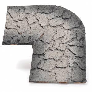 Muschio, licheni, piante, pavimentazioni: Curva strada sinistra presepe 23x30 cm