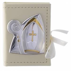 Bonbonnières: Custode chapelet Baptême en imitation cuir et image bilaminé argent