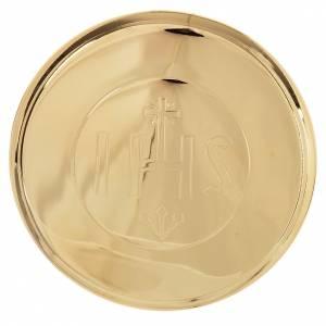 Custode hostie laiton doré IHS diamètre 7 cm s1