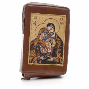 Custodie lit. ore 4 vol.: Custodia liturgia delle ore 4 vol. marrone Sacra Famiglia