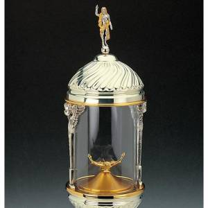 Cylindrical monstrance in ambrosian style, silver-plated brass s2
