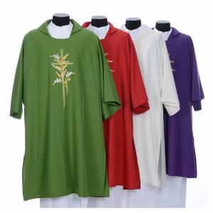 Chapes, Chasubles Romaines, Dalmatiques: Dalmatique brodée épis et croix 100% polyester