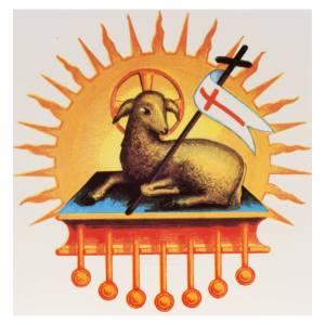 Candele, ceri, ceretti: Decalcomania per cero pasquale agnello risorto glorioso