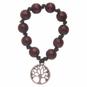 Decina rosario con grani in legno e albero della vita s2