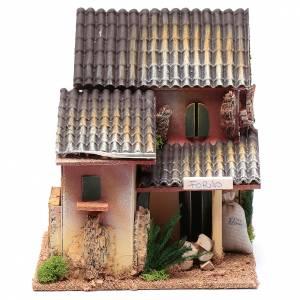 Maisons, milieux, ateliers, puits: Décor avec atelier boulanger 19,5x18x15 cm