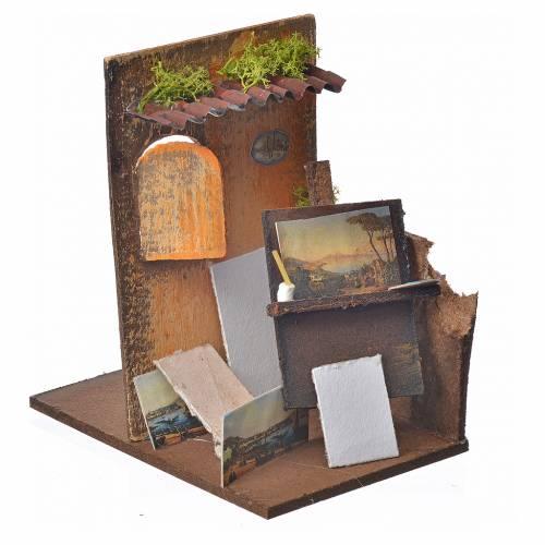 Décor crèche atelier du peintre 15x9,5x9,5cm s2