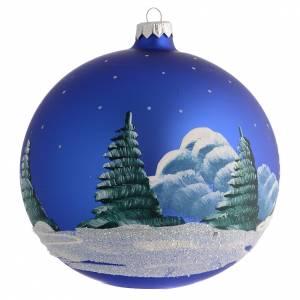 d cor no l boule sapin bleu avec paysage neige 150 mm vente en ligne sur holyart. Black Bedroom Furniture Sets. Home Design Ideas