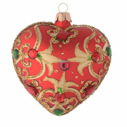 Décor Noël verre coeur rouge dessin doré 100 mm s1