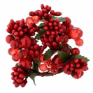 Décoration couronne Noël avec perles rouges s1