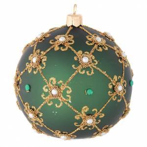 Décoration Noël boule vert et or 100 mm s2