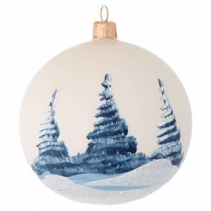 Décoration sapin Noël verre soufflé ivoire paysage 100 mm s2