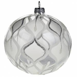 Decoro Albero Natale, palla vetro soffiato argentata 10 cm s1