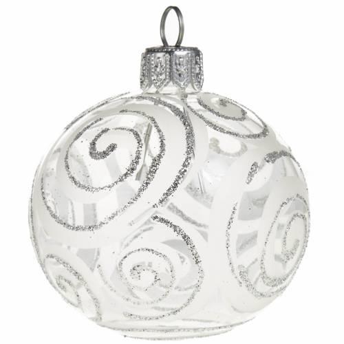Decoro Albero Natale, palla vetro trasparente argento 6 cm s1