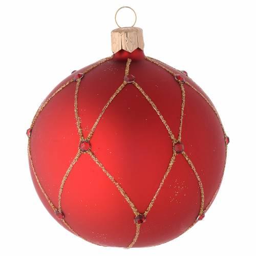Decoro Natalizio palla vetro rosso pietre 80 mm s2