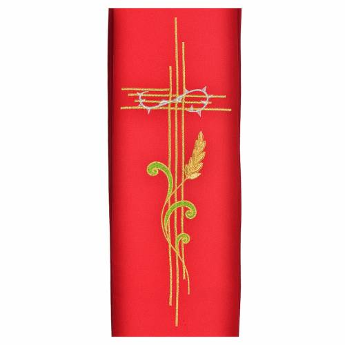 Diaconal stole in polyester with cross and ear of wheat symbols s2