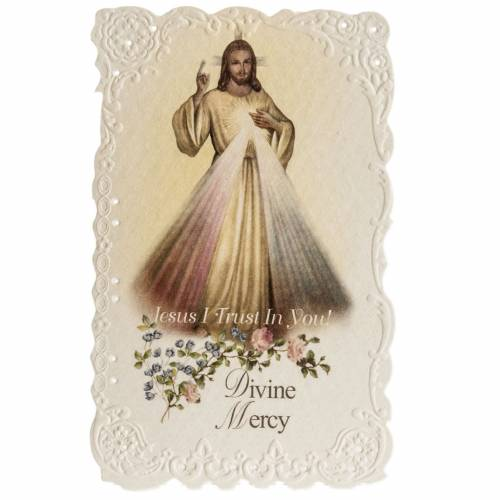 Divine Mercy holy card with prayer in ENGLISH s1