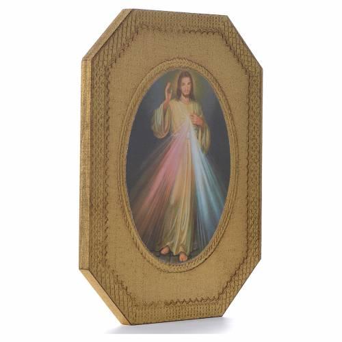 Divine Mercy shaped print on wood 19x14cm s2