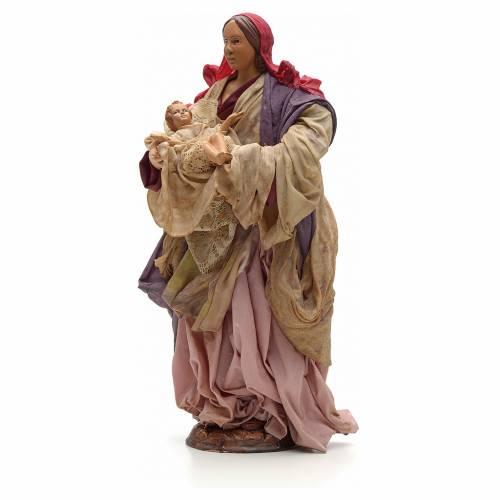 Donna con bimbo in braccio 30cm presepe napoletano s2