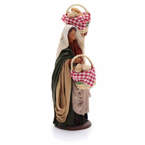 Donna con cesti di pane 14 cm s4