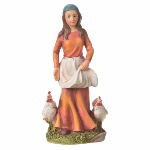 Donna con galline presepe 30 cm resina s4