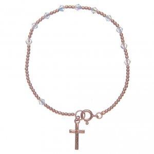 Silver bracelets: Dozen rosary bracelet in 925 sterling silver rosè with transparent Swarovski grains