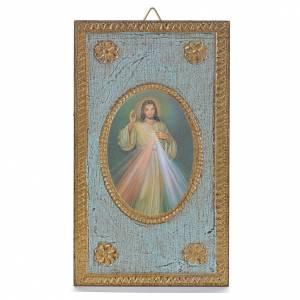 Bilder, Miniaturen, Drucke: Druckbild auf Holz Göttliche Barmherzigkeit 12,5x7,5 cm