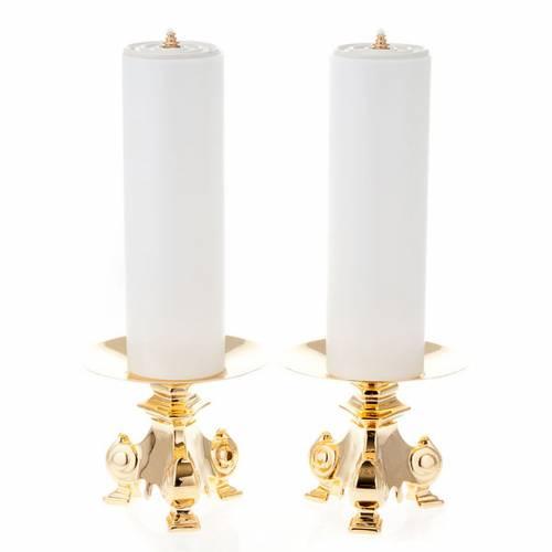 Duo chandeliers, métal doré, base trois pieds,h 15 s1
