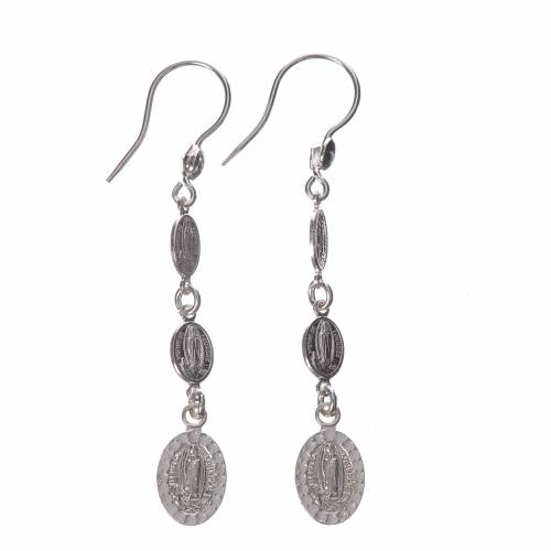 Earrings in 800 silver and Swarowski with Lourdes medal, white s1